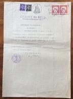 COMUNE DI ROLO REGGIO EMILIA  DOCUMENTO IN CARTA BOLLATA E MARCHE DA BOLLO  TIMBRI E FIRME AUTOGRAFE DEL  5/7/1947 - Manoscritti