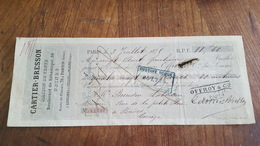 MANDAT A ORDRE 1875   CARTIER BRESSON FIL DE LIN  A COUDRE A PANTIN - Lettres De Change
