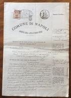 COMUNE DI NAPOLI  DOCUMENTO IN CARTA BOLLATA E MARCHE DA BOLLO  TIMBRI E FIRME AUTOGRAFE DEL  5/3/1907 - Manoscritti