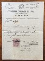 LUCCA TESORERIA COMUNALE QUIETANZA  CON MARCA DA BOLLO TIMBRI E FIRME AUTOGRAFE DEL 24/9/1900 - Manoscritti