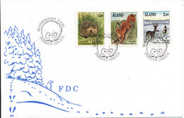 Aland FDC Complete Set Animals From The Nature 1-3-1991 With Cachet - Aland