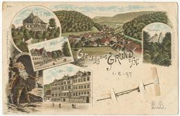 Gruss Aus Grund A. H. P. Used Wildemann 1897  Litho August Neuner Lutin Elf Romers Hotel To Geisenheim - Wildemann