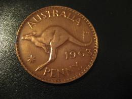 One Penny 1963 QEII AUSTRALIA Coin Kangaroo - Monnaie Pré-décimale (1910-1965)
