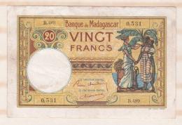 Banque De Madagascar, 20 Francs 1937 – 1947, Alphabet B.489 , Numéro 0,531 - Madagascar