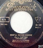 Brenda Lee : She'll Never Know Vinyle SP 45 Tours - Rock