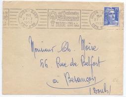 France Lettre Obl VIII Centenaire Saint Bernard Dijon Mai Septembre 1953 Cote D Or - Poststempel (Briefe)
