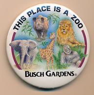 Button Busch Gardens, USA - Rhino, Elephant, Lion, Giraffe, Gorilla - Badges