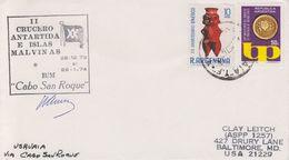 Argentina 1974 II Crucero Antartida E Islas Malvinas (Falklands) Signature Cover (40345) - Poolshepen & Ijsbrekers