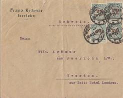 DR Brief Mef Minr.4x 329A Iserlohn 26.11.23 Gel. In Schweiz Novemberbrief - Deutschland