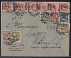 DR Brief Mif Minr.10x 309APa, 318A,319AP,321AP,2x 323APb,324P Dresden 6.11.23 Geprüft - Deutschland