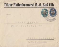 DR Brief Mif Minr.375,377 Bad Tölz Gel. In USA - Deutschland