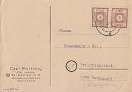 SBZ Karte Mef Minr.2x 56 Dresden - Sowjetische Zone (SBZ)