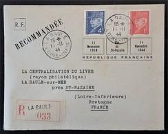 POCHE De L'ATLANTIQUE ILOT De St NAZAIRE Enveloppe Recommandé LA BAULE 11 Novembre 1944 - Marcophilie (Lettres)