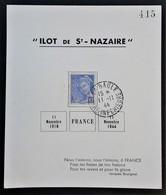 Feuillet TP Type Mercure 10c POCHE De L'ATLANTIQUE ILOT De St NAZAIRE 11 Novembre 1944 LA BAULE - Marcophilie (Lettres)