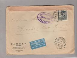 LSC - Enveloppe D'Espagne Pour France - CENSURE  CONTROL OFICIAL VALENCIA - Marcas De Censura Nacional