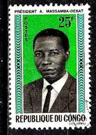 CONGO  173° 25f Bleu, Noir, Vert Et Brun Président Massamba-Debat (10% De La Cote + 0,15) - Congo - Brazzaville