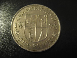 1 One Rupee MAURITIUS 1978 QEII Coin British Area Colony - Maurice