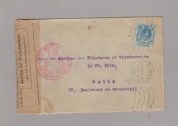 LSC 1915 Pour Paris - Censure Ouvert Par Autorité Militaire +cachet Ministere Guerre Et Vignette QUINTINA Au Dos - Marques De Censures Nationalistes