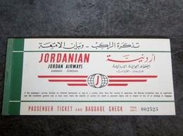 JORDAN AIRWAYS BILLET AVION JORDANIAN 1962 JERUSALEM TO BEYROUTH 1962 - Plane