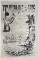 Menu 1888 Union Amicale Des Cuisiniers De La Touraine . Maison Gagneux , Monmousseau Successeur .  Gastronomie . - Menú
