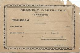 Régiment D'Artillerie Batterie Bon De Permission - Documents