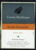 THEME ANIMAUX étiquette De Vin SYRAH GRENACHE / CHOUETTE CUVEE MYTHIQUE - Owls