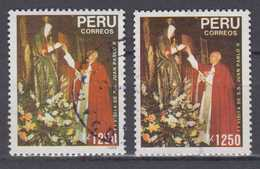 Peru Mi# 1418 I + II Used Pope Papa 1989 - Peru