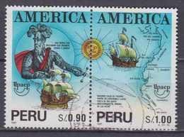 Peru Mi# 1488-89 Used Pair Pizarro 1993 - Peru