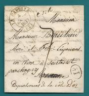 Aisne - La Capelle Pour Un Négociant En Vin En Cote D'or. LAC De 1833 écrite En Belgique : Houdeng-Gœgnies - Marcophilie (Lettres)