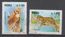 Peru Mi# 1544-45 Used Owl And Leopard 1995 - Peru