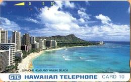 Hawaii - GTH-2b, Diamond Head And Waikiki Beach - Bronze Back, 10U, 10.000ex, Used - Hawaii