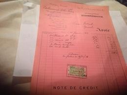 Facture -documents-commerciaux Note De Crédit Département Du Pathephone établissements Pathe Cinématographes Epinal Avoi - Artigianato