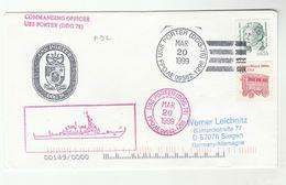 1999 USS PORTER Cover CIRCUS WAGON Stamps SHIP  Usa Navy - Circus