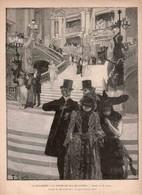 2 ESTAMPES LE MONDE ILLUSTRE  *La Mi-Careme SORTIE DU BAL DE L'OPERA M.Lunel  *En Promenade LA SUISSE J.Gourdault - Prints & Engravings