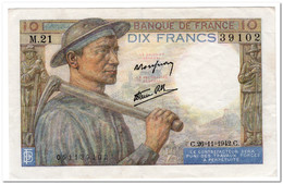FRANCE,10 FRANCS,1942,P.99e,VF+,NO PINHOLES - 1871-1952 Circulated During XXth