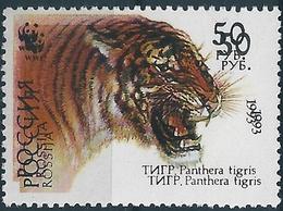 B2165 Russia Rossija Fauna Animal Mammal Cat-of-Prey Tiger (50 Rubel) WWF Organization ERROR - Big Cats (cats Of Prey)
