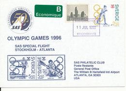 Sweden Cover Special Olympic Flight Stockholm - Atlanta 11-7-1996 - Ete 1996: Atlanta