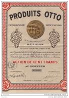 PRODUITS OTTO - Oenologie - Viticulture - VIN -  BÉZIERS - 22, Allées Paul Riquet - ACTION DE CENT FRANCS AU PORTEUR - Landbouw