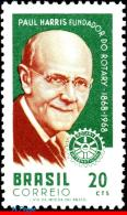 Ref. BR-1079 BRAZIL 1968 FAMOUS PEOPLE, PAUL PERCY HARRIS,FOUNDER, OF ROTARY INTL, MI# 1169, MNH 1V Sc# 1079 - Rotary, Lions Club