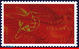 Ref. MX-2211 MEXICO 2000 HEALTH, INTL.DIABETES FEDERATION,, HUMMINGBIRD, BIRDS, MI# 2877, MNH 1V Sc# 2211 - Hummingbirds