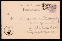 Czerwinsk R3 CZERWINSK IN WESTPREUSSEN 2.8.86 Auf Ganzsache P 12 Nach Berlin - Allemagne