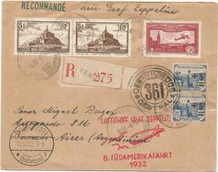 PA N°5+260X2+165X2 LETTRE REC VENCE 1932 ALPES MARITIMES  GRAF ZEPPELIN POUR ARGENTINA - Postmark Collection (Covers)