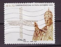 ITALIA- 2014 EMISSIONE CONGIUNTA VATICANO CANONIZZAZIONE PAPA GIOVANNI XXIII E G.PAOLO II  USATO - Emissioni Congiunte