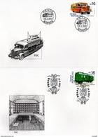 2 FDC Véhicules Historiques 2017 : Bus Postal Autoposta Et Wagon Postal Ambulance - FDC