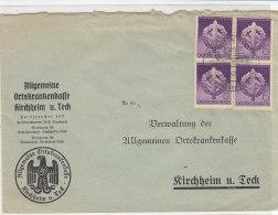 Brief Mit Netter Frankatur USonderstempel Von Der AOK Kirchheim A. Teck / III. Reich - Deutschland