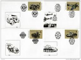 4 FDC 2015 : LIBERTE 1945 Tank T 34 Jeep Ford Moto Harley Davidson Liberator Et Avion De Chasse Spitfire - FDC