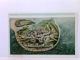 AK Insel Borkum, Inselpanorama, Vogelschau, Landkarte; Coloriert, Gelaufen 1911 - Ohne Zuordnung
