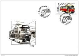 2 FDC Véhicules Historiques 2015 : Tram Tatra 1963 Et Bâteau Vapeur Roues à Aubes DIETRICH 1891 - FDC