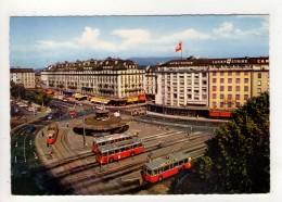 CP 10*15-WY1449-GENEVE PLACE DE CORNAVIN HOTEL SUISSE TROLLEYBUS TRAMWAY - GE Genève