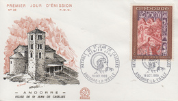 Enveloppe  FDC  1er  Jour    ANDORRE   Rétable  De  SAINT  JEAN  DE  CASELLES   1969 - FDC
